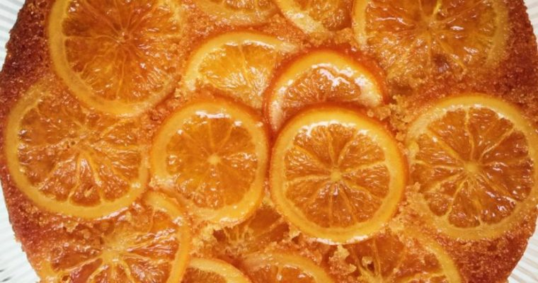 Upside Down Orange and Polenta Cake