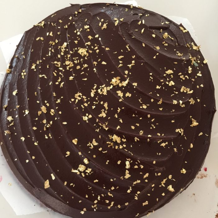 Gold flecked chocolate cake