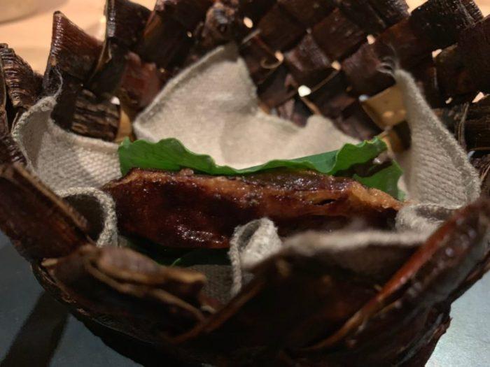 Caramelised milk skin with reindeer brains