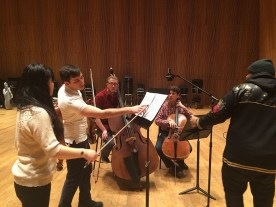 Recording Session for Welcome To The Symphony – Sophia Sun on Viola, Joseph Morag on Violin, Sam Zagnit on Bass, Ethan Brown on Cello