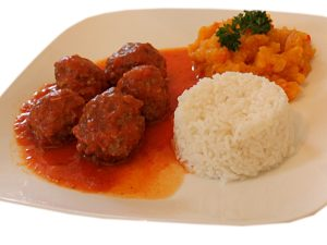 Meatballs Rice and Pumpkin