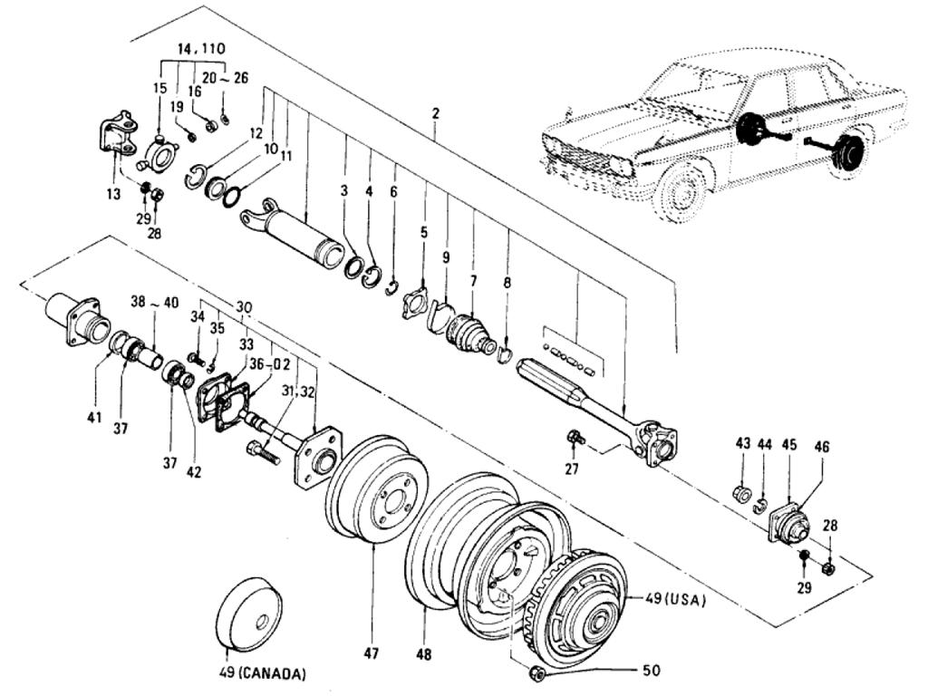 Datsun 510 Rear Axle Amp Suspension Sedan