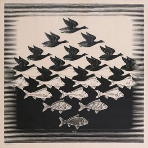 Sky and water I (M. C. Escher)