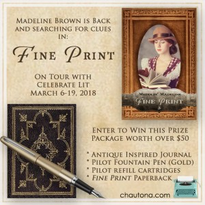 GiveAway for Chautona Havig, author of Meddlin' Madeline FINE PRINT, on tour with Celebrate Lit and featured on CarpeDIem.fyi