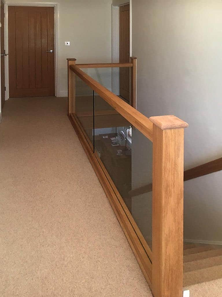 Glass staircase & solid oak
