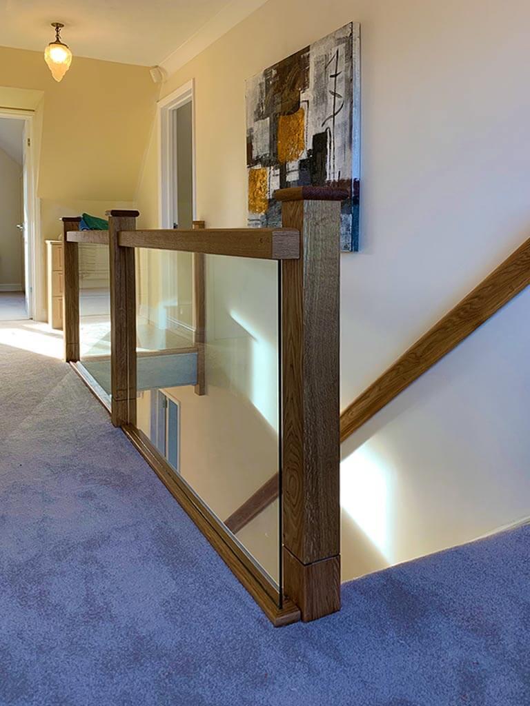 Solid Oak & Veneer with glass stairs