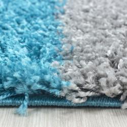 tapis de salon shaggy poil long a carreaux turquoise blanc gris