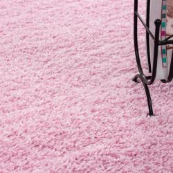 tapis shaggy poil hauteur 3cm uni rose