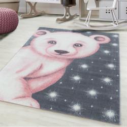tapis enfant tapis chambre enfant motif ours polaire rose