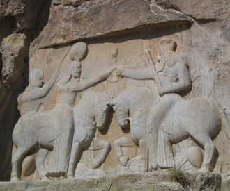 Relief of Ardashir in Naqsh-e-Rustam, dates back from the Sassanid Empire.