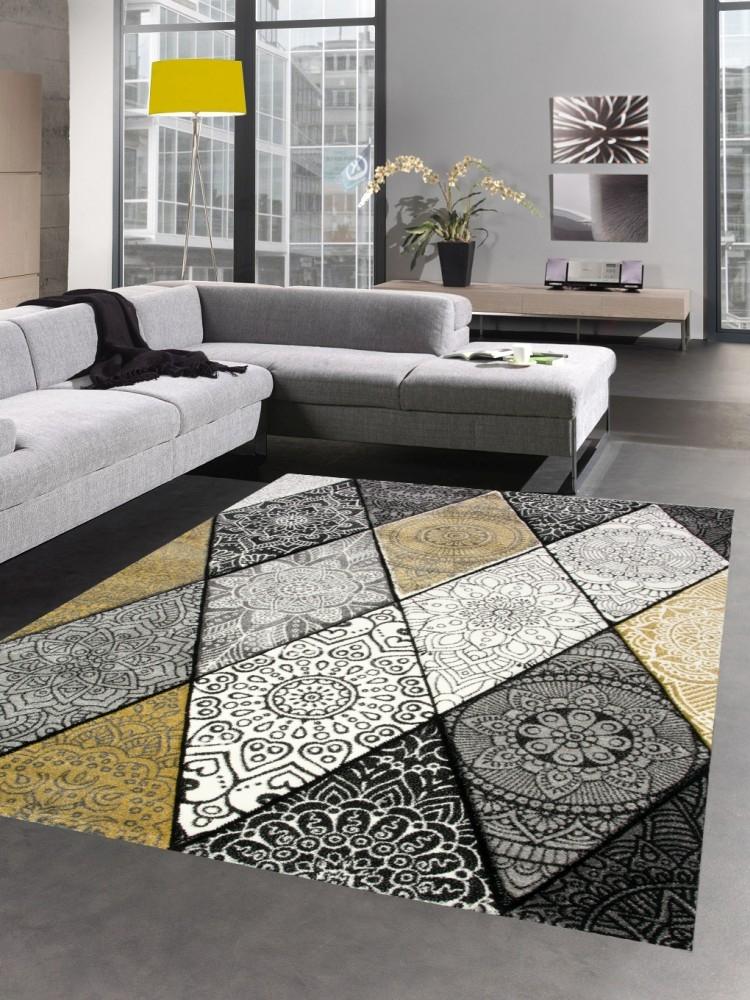 details sur tapis moderne tapis salon diamants avec ornements jaune moutarde grise