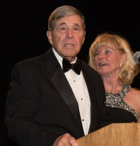 Vern Montgomery saying a word after receiving his award.
