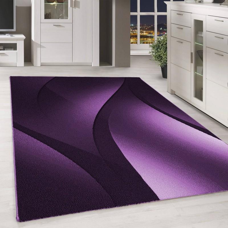 designer tapis moderne poils ras abstrait ondes optique noir mauve blanc dimension 80x150 cm