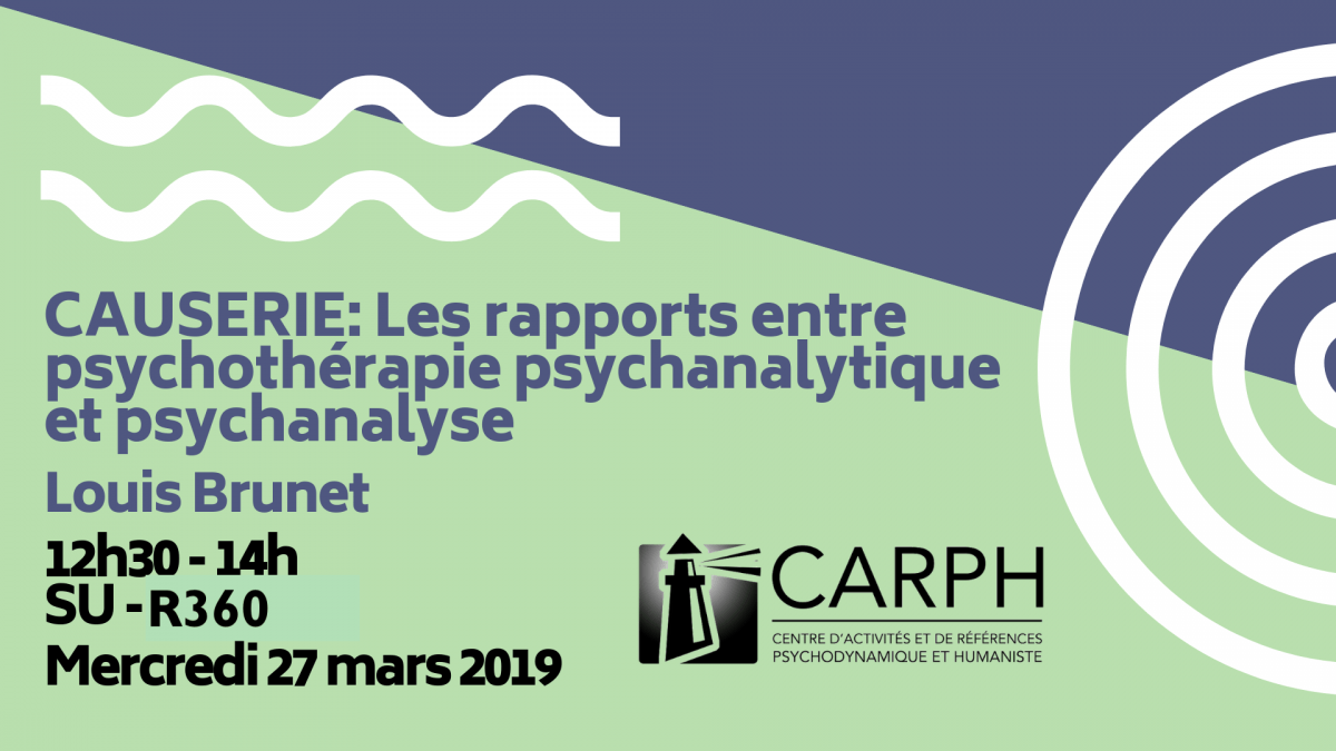 CAUSERIE: Les rapports entre psychothérapie psychanalytique et psychanalyse