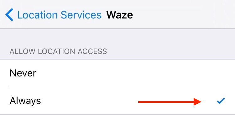 Settings Waze Location Services