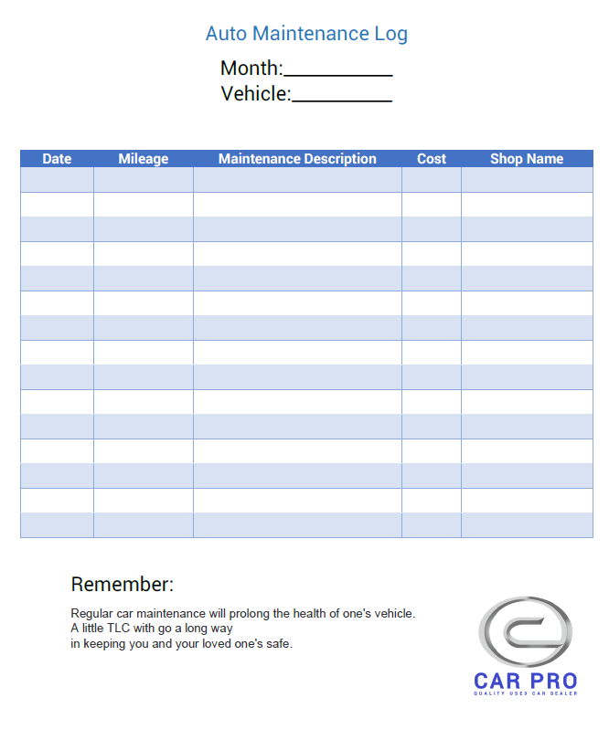 It's just a photo of Printable Maintenance Log throughout company vehicle checklist