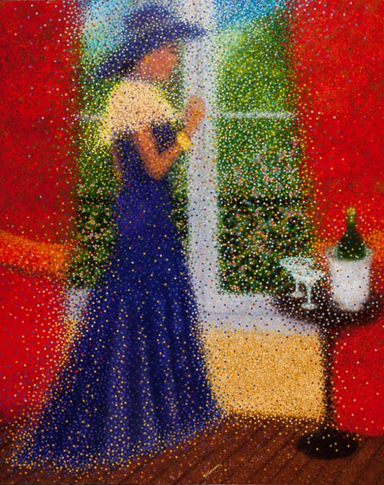 """""""Rêverie à la fenêtre"""" / """"Dreams at the window"""" - Huile sur toile - 162 x 130 cm"""