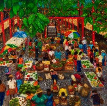 """Selwyn Market"" Seychelles - Huile sur toile - 100 x 100 cm"