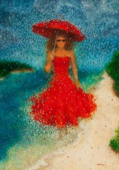 """Incognito en rouge"" / ""Incognito in Red"" - Huile sur toile - 92 x 65 cm -"