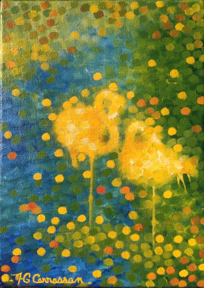"""""""Flamants-Lumière"""" / """"Flamingoes-Light"""" - Huile sur toile - 22 x 16"""