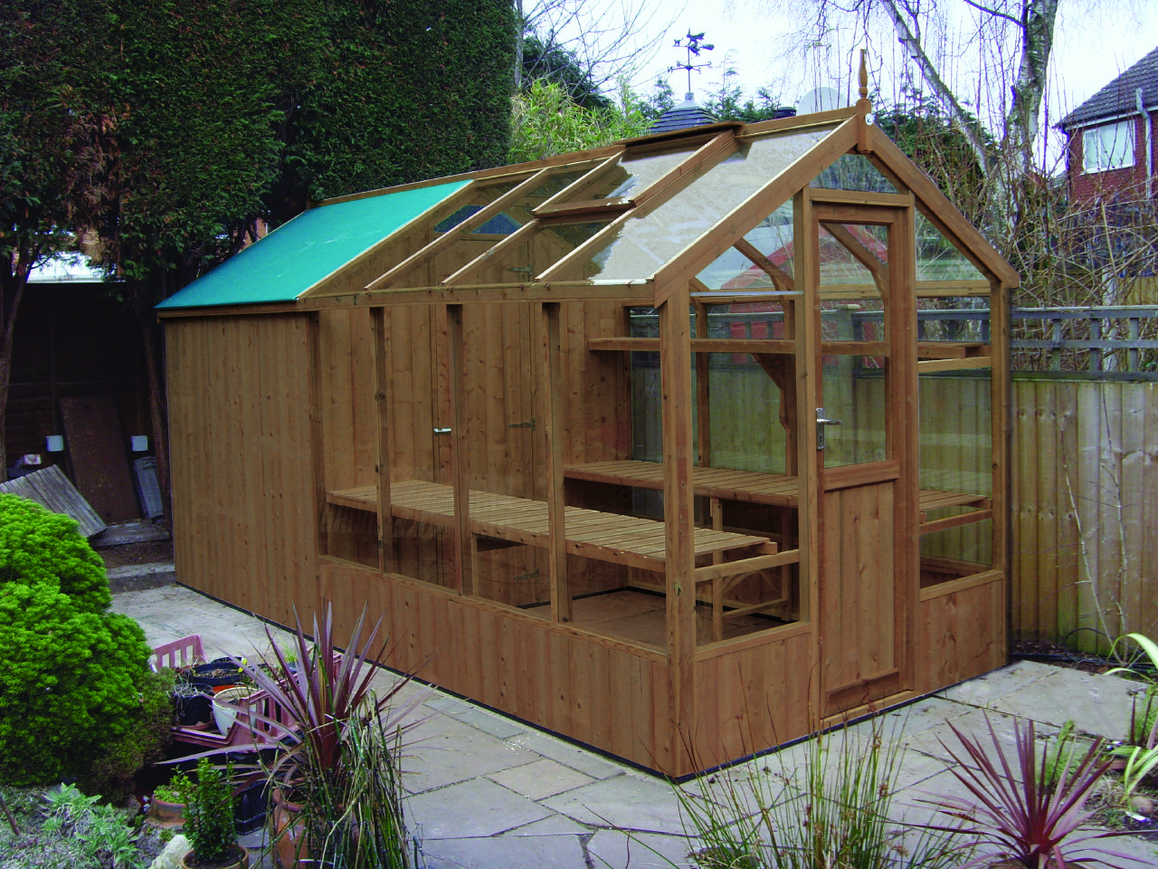 Swallow Kingfisher timber greenhouse Combination 6'x8'