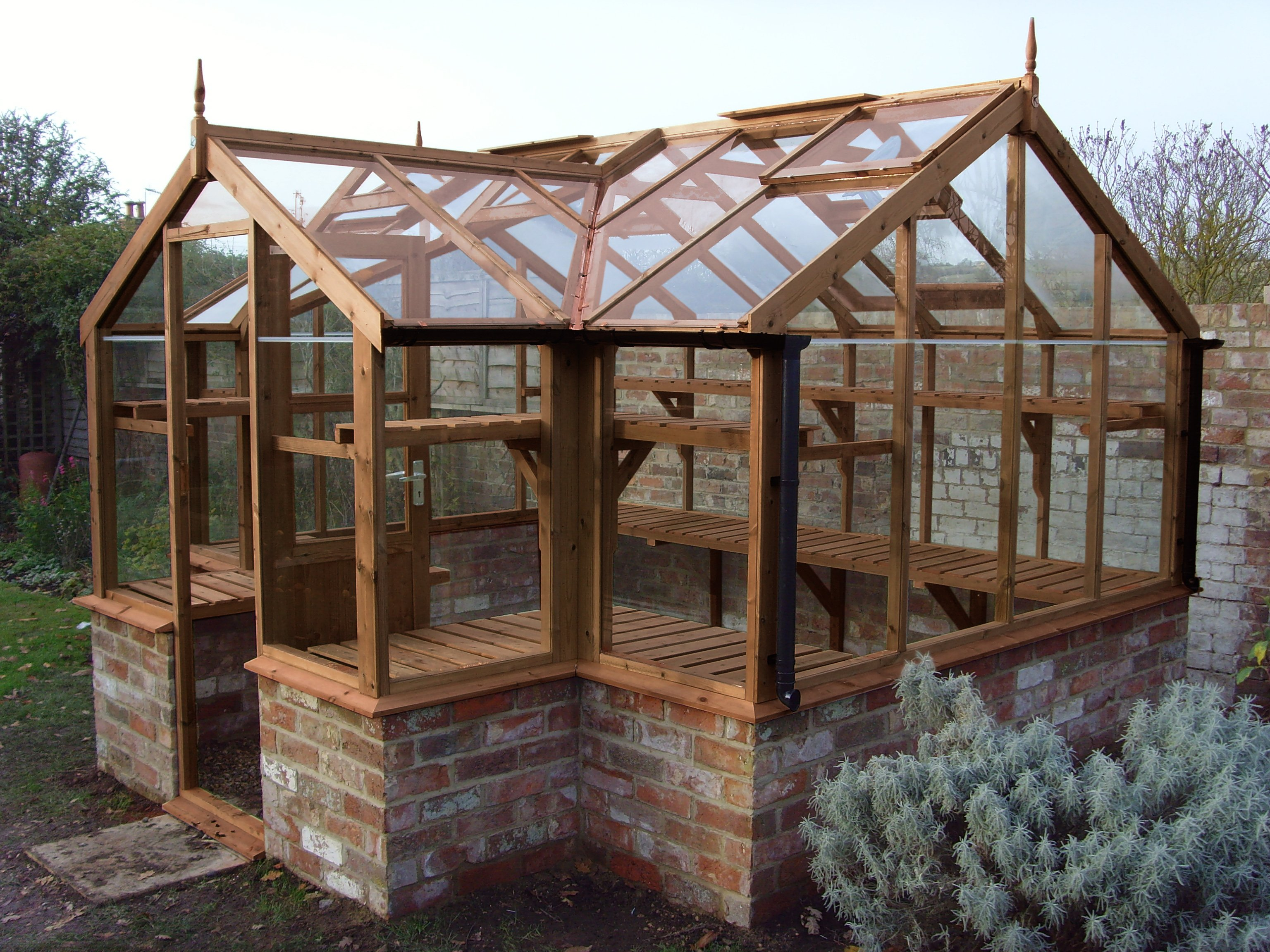 "Swallow Mallard 8'9"" x 11'5"" timber greenhouse on Dwarf Wall Brick Base"