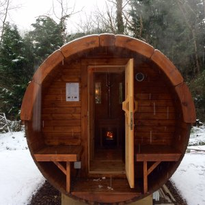 4m Pine Barrel Sauna at Carr Bank Garden Centre