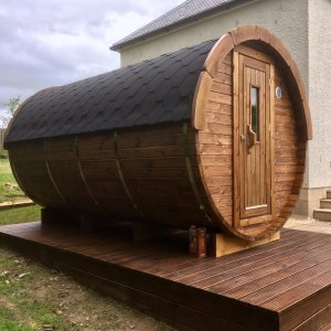 4m Thermowood Barrel Sauna from Carr Bank Garden Centre