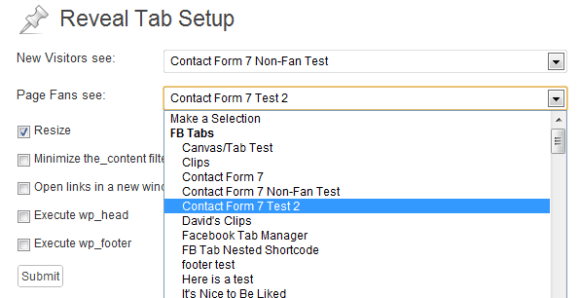 Reveal Tab Setup for a Form