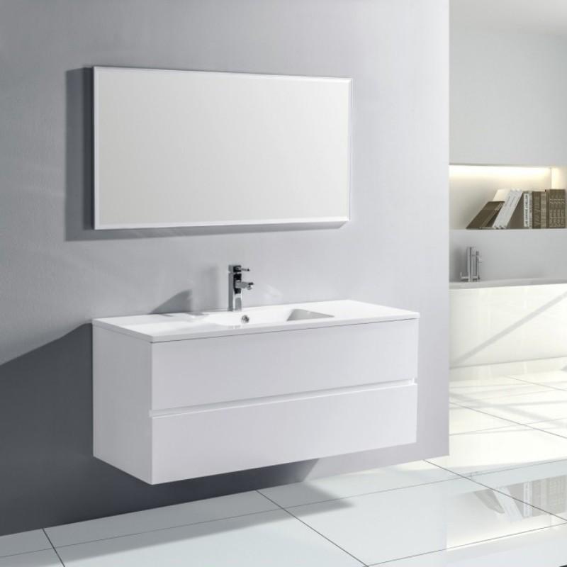 Pack Trinite Meuble Simple Vasque 120 Cm Blanc Laque Salle De Bain