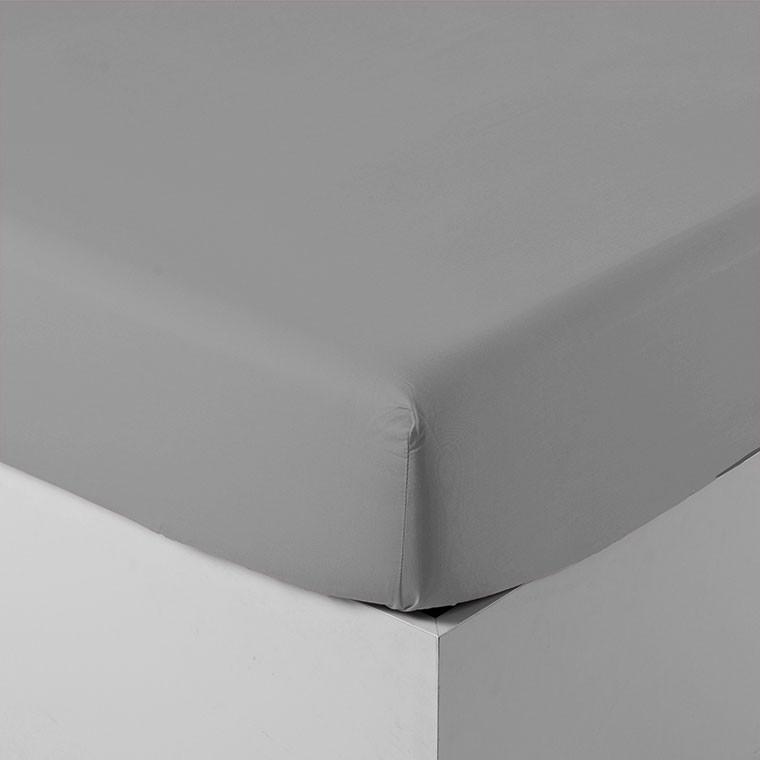 drap housse percale de coton neo gris