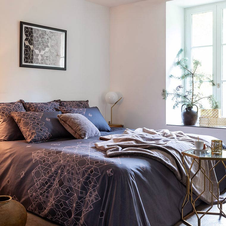 Housse De Couette PALAZZO TAUPE CARRE BLANC