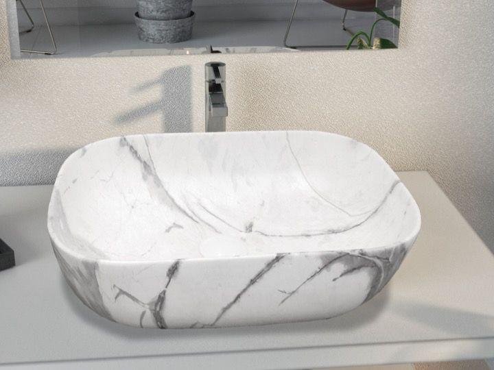 Vasque Lavabo En Ceramique Decoree Finition Effet Marbre Carrare 460 X 325 Mm Orta White