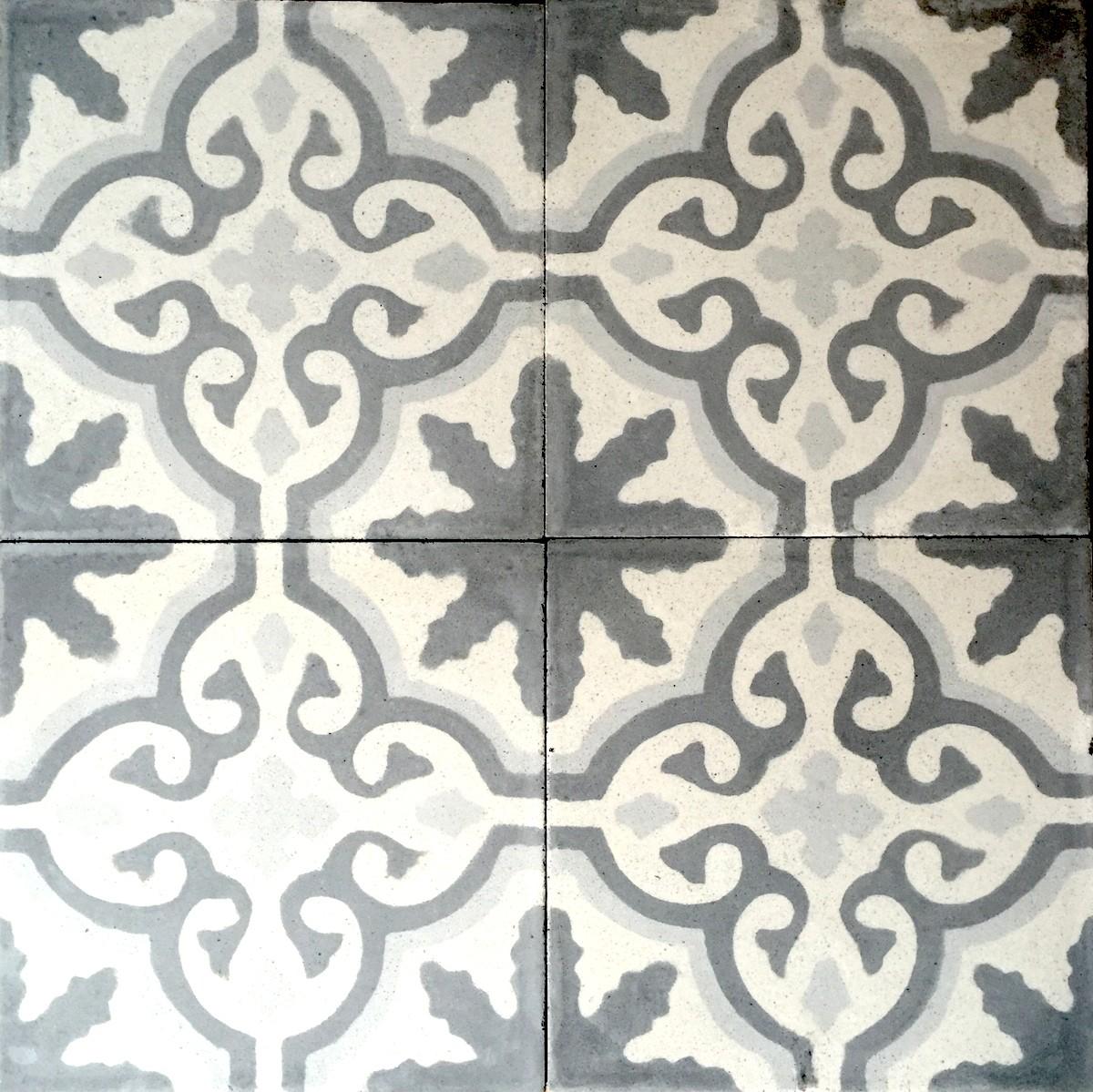 carreaux ciment anciens 1m2 modele flore gris carrelage mosaique