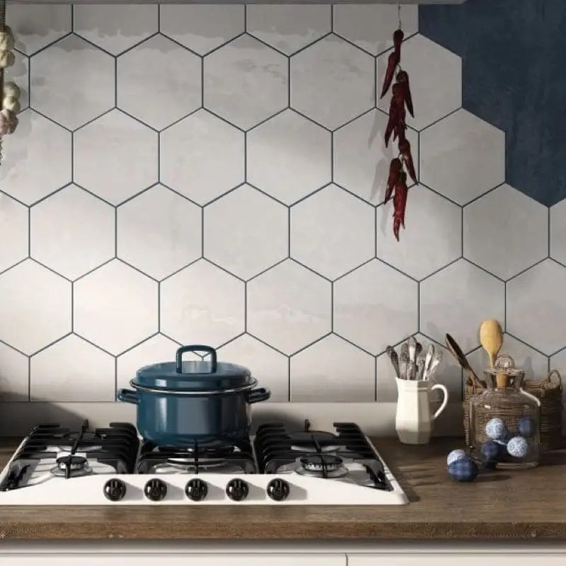 carrelage mural hexagonal 17 6x20 1 blanc brillant