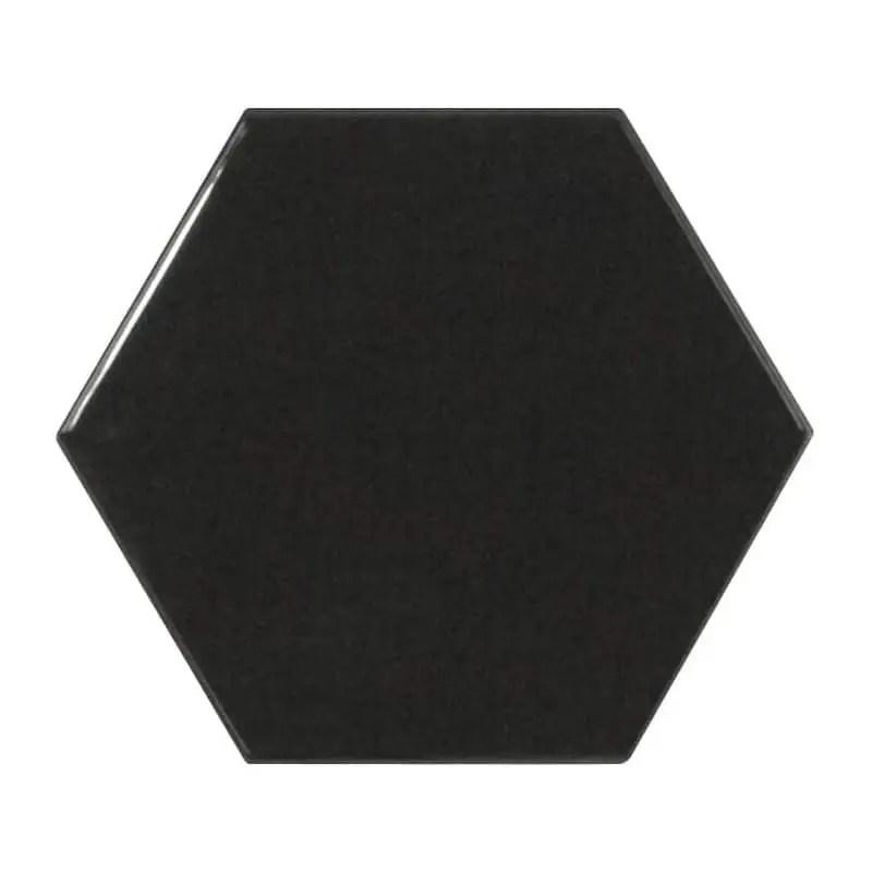 carrelage hexagonal noir brillant scale 12 4x10 7 carrelages 3d