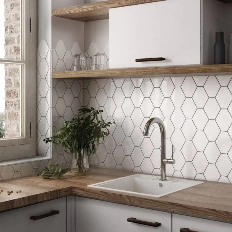 carrelage hexagonal blanc brillant scale 12 4x10 7 carrelages 3d