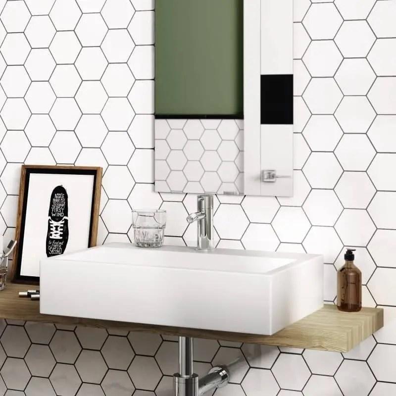 carrelage hexagonal blanc matt scale 12 4x10 7 carrelages 3d