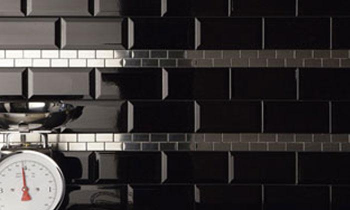 Costiles Faience Metro Bisel Noir Brillant 15 X 7 5cm