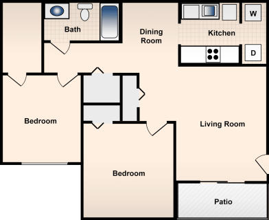 2 Bed / 1 Bath / 960 ft² / Deposit: $300 / Rent: $680