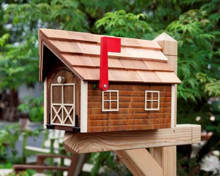 Cedar Mailbox With White Trim Carriage House Furnishings