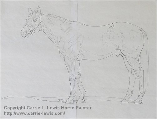 Umber Under Drawing Tutorial - Revised Line Drawing