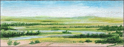 Drawing on Wood with Colored Pencils Miniature Landscape