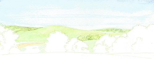 Water Soluble Under Drawing for a Landscape Step 06