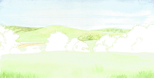 Water Soluble Under Drawing for a Landscape Step 07