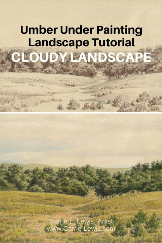 Umber Under Painting Landscape Tutorial - Cloudy Landscape
