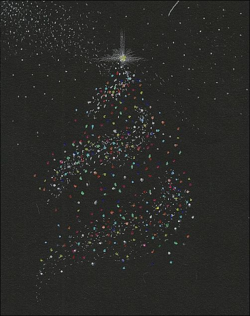 Add Spots of Color to Black Paper - Christmas Tree and Stars