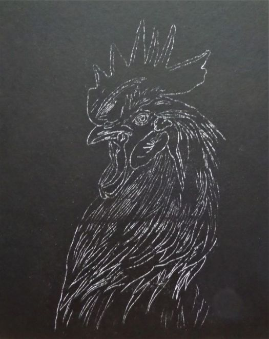 The first step in drawing vibrant color on black paper is transferring the line drawing.