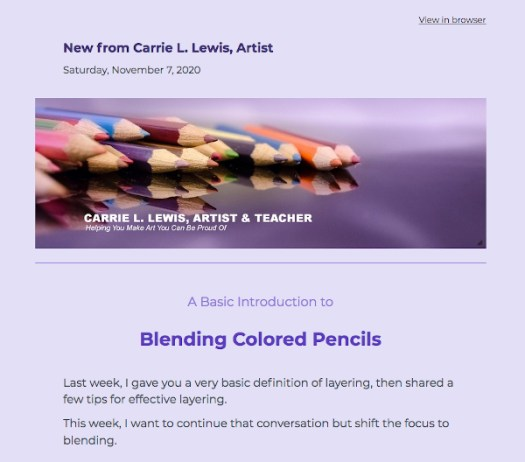 Colored Pencil Articles - Newsletter Sample