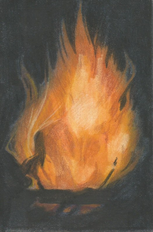 How to draw flame in colored pencil